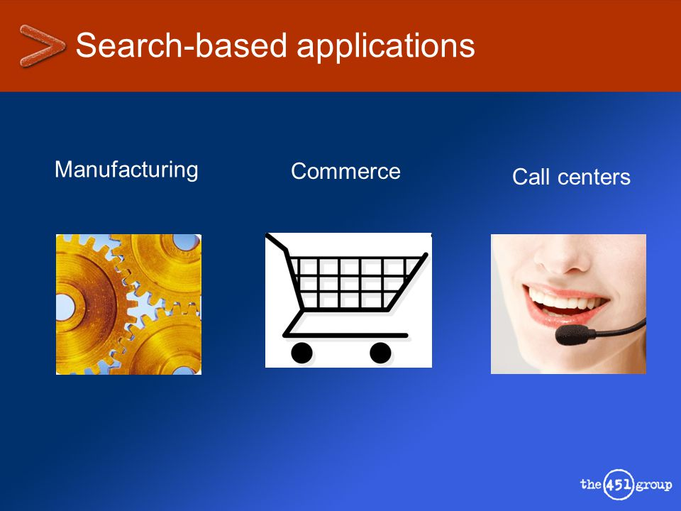 Search-based applications Manufacturing Commerce Call centers