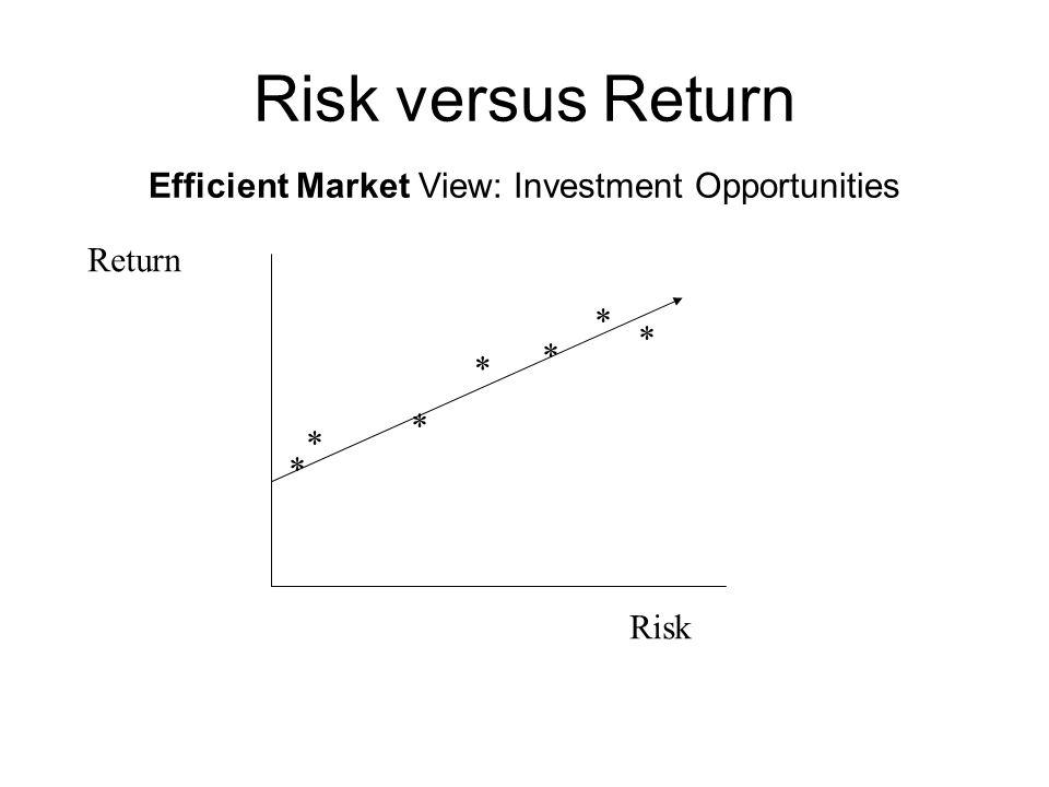 Risk versus Return Efficient Market View: Investment Opportunities Risk Return * * * * * * *