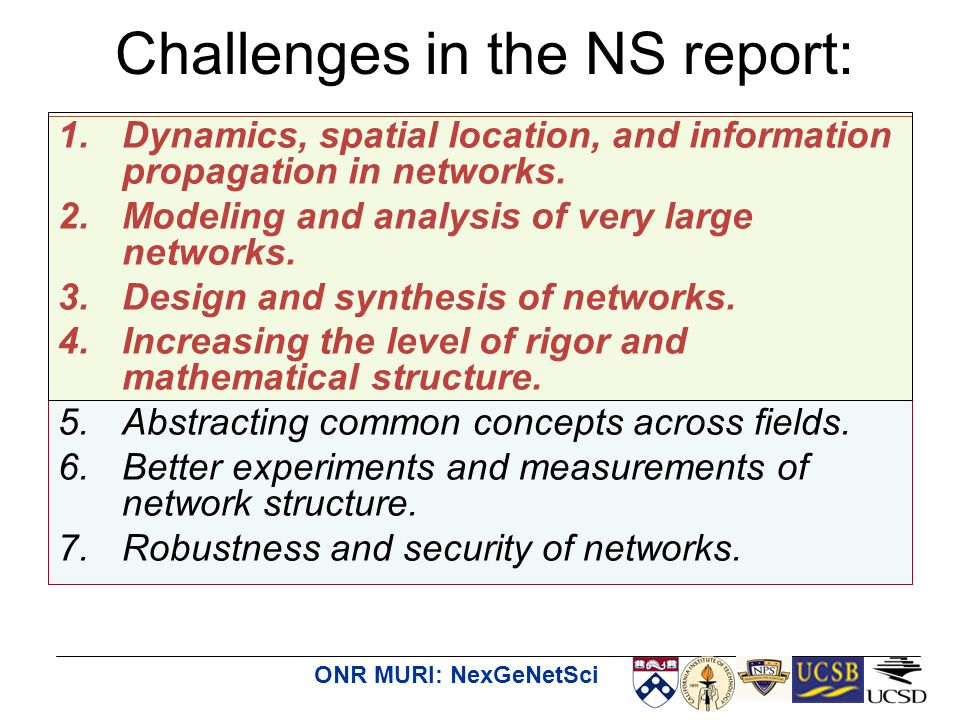 ONR MURI: NexGeNetSci Challenges in the NS report: 1.Dynamics, spatial location, and information propagation in networks. 2.Modeling and analysis of v