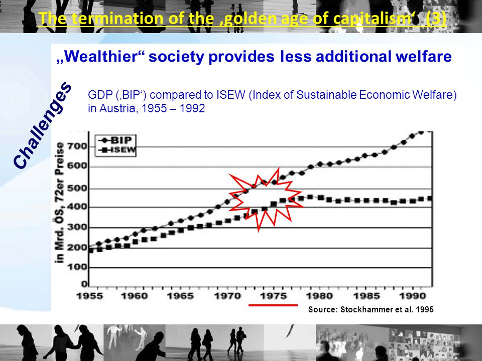 """Wealthier"" society provides less additional welfare GDP ('BIP') compared to ISEW (Index of Sustainable Economic Welfare) in Austria, 1955 – 1992 Sour"