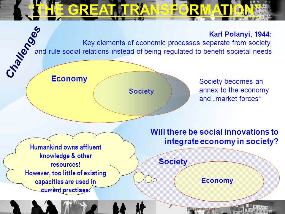 """THE GREAT TRANSFORMATION"" Karl Polanyi, 1944: Key elements of economic processes separate from society, and rule social relations instead of being re"