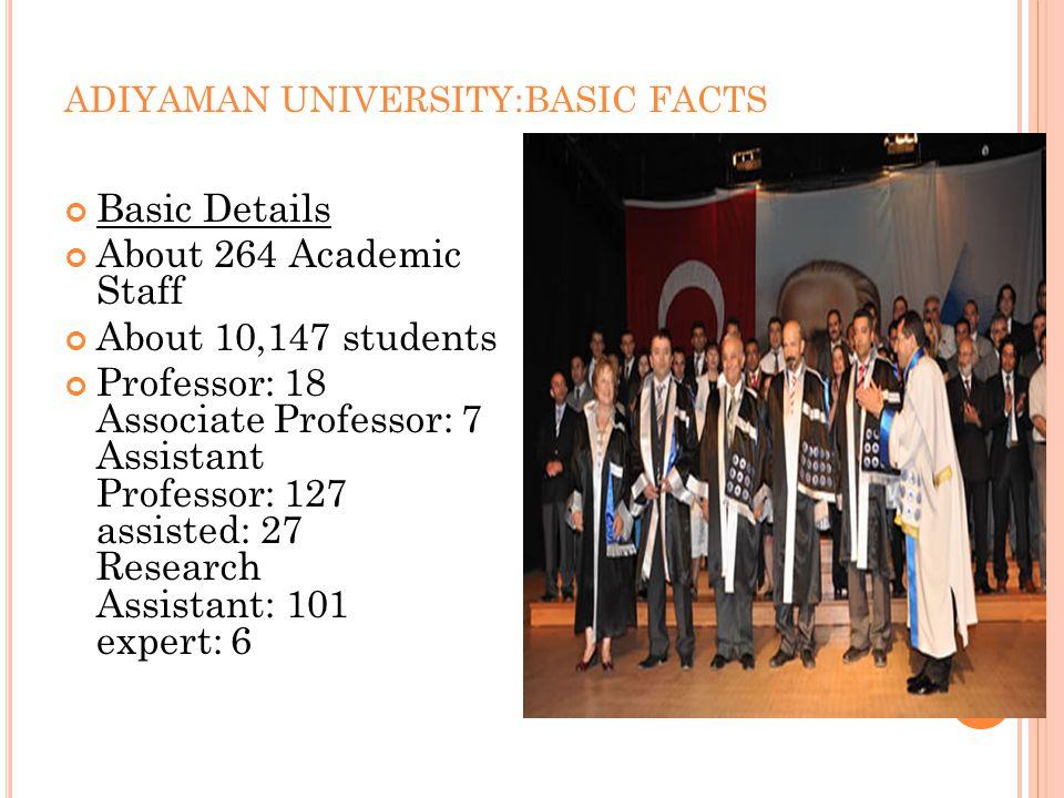 ADIYAMAN UNIVERSITY:BASIC FACTS Basic Details About 264 Academic Staff About 10,147 students Professor: 18 Associate Professor: 7 Assistant Professor: