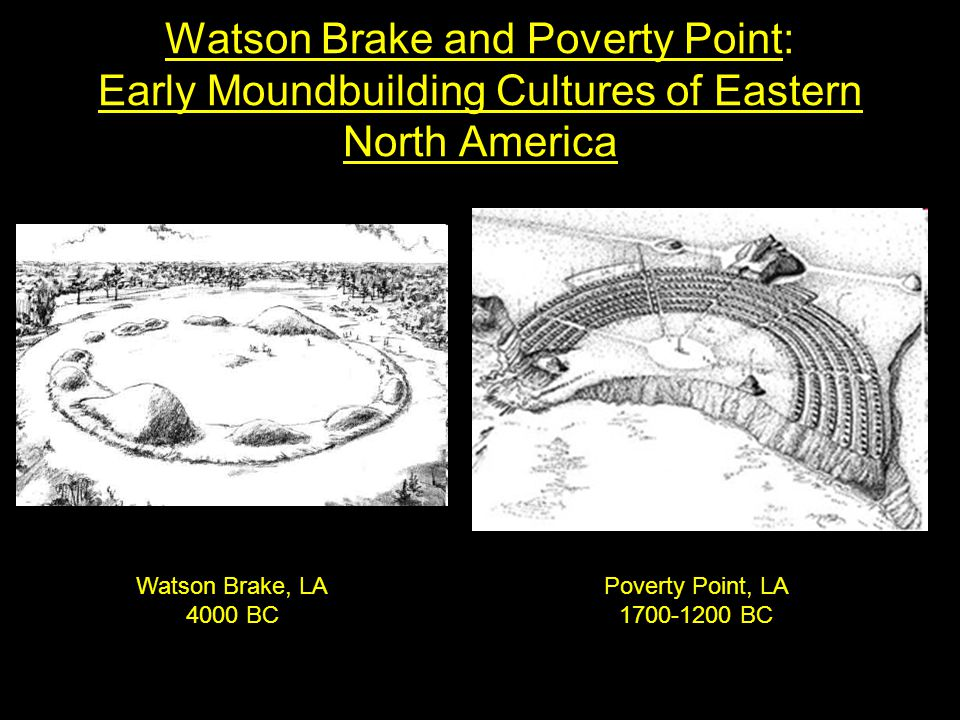 Watson Brake and Poverty Point: Early Moundbuilding Cultures of Eastern North America Poverty Point, LA 1700-1200 BC Watson Brake, LA 4000 BC