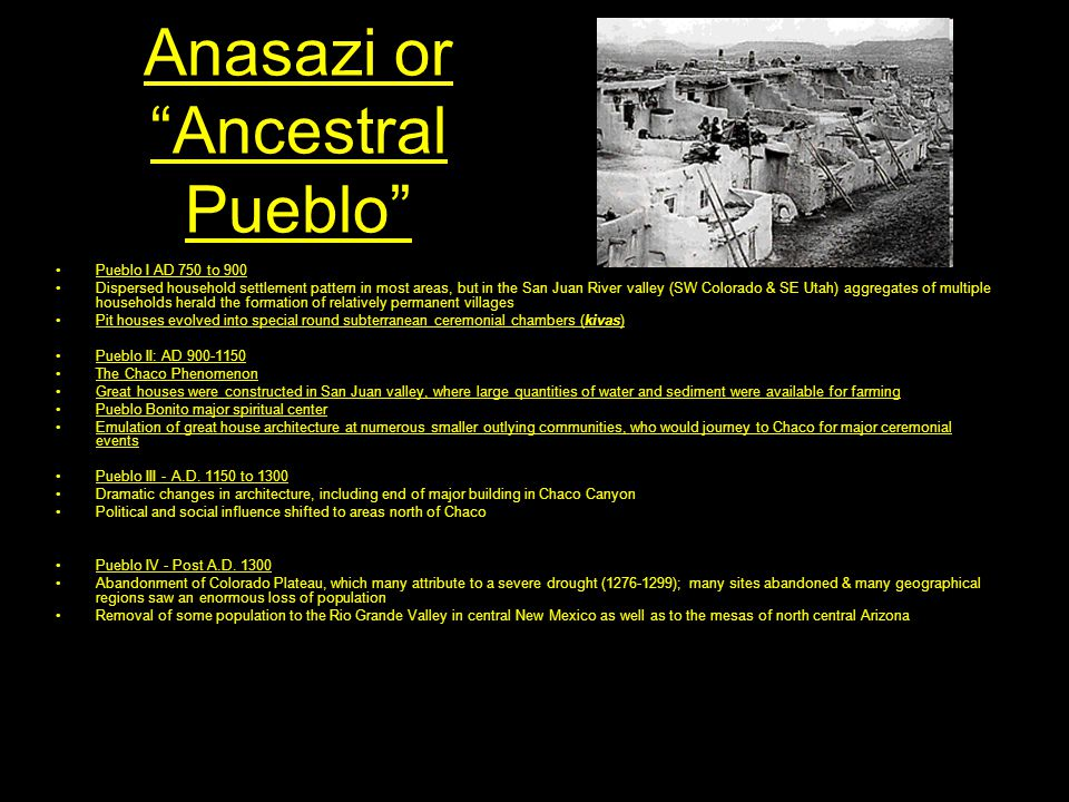 """Anasazi or """"Ancestral Pueblo"""" Pueblo I AD 750 to 900 Dispersed household settlement pattern in most areas, but in the San Juan River valley (SW Colora"""