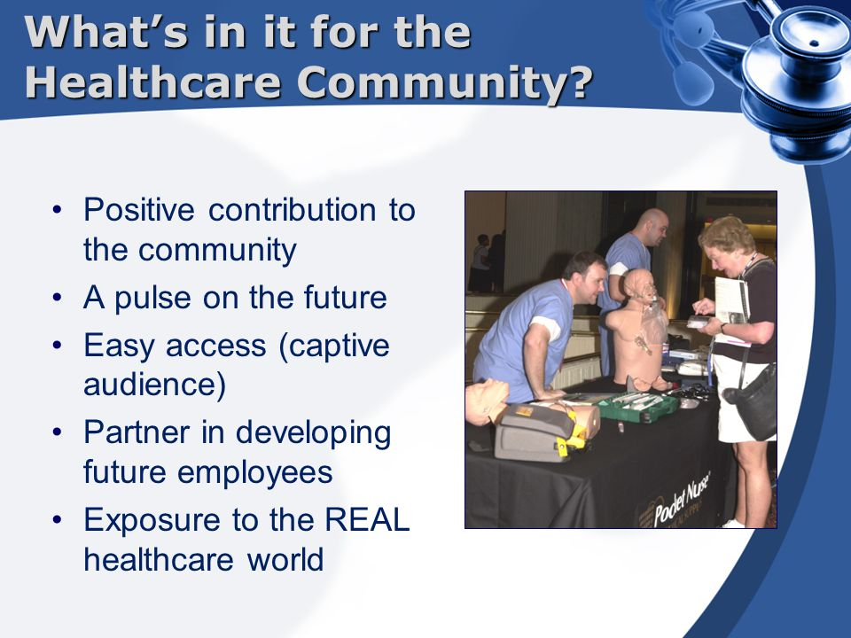 Positive contribution to the community A pulse on the future Easy access (captive audience) Partner in developing future employees Exposure to the REAL healthcare world What's in it for the Healthcare Community?