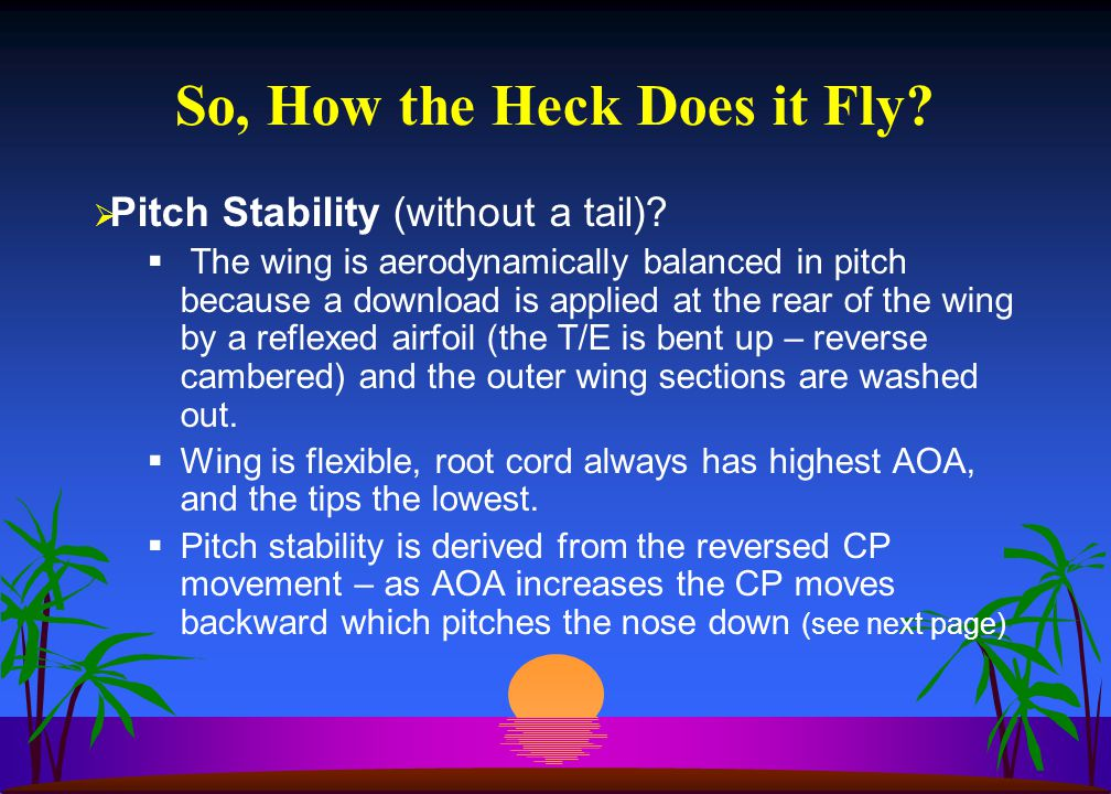  Pitch Stability (without a tail).