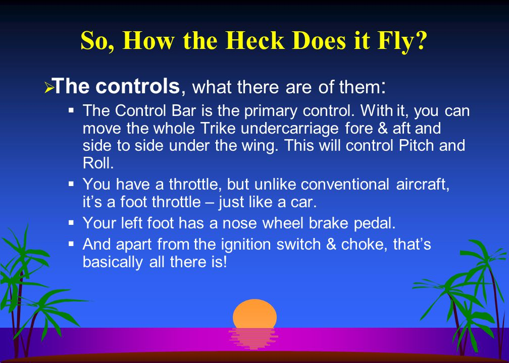 So, How the Heck Does it Fly?  The controls, what there are of them :  The Control Bar is the primary control. With it, you can move the whole Trike