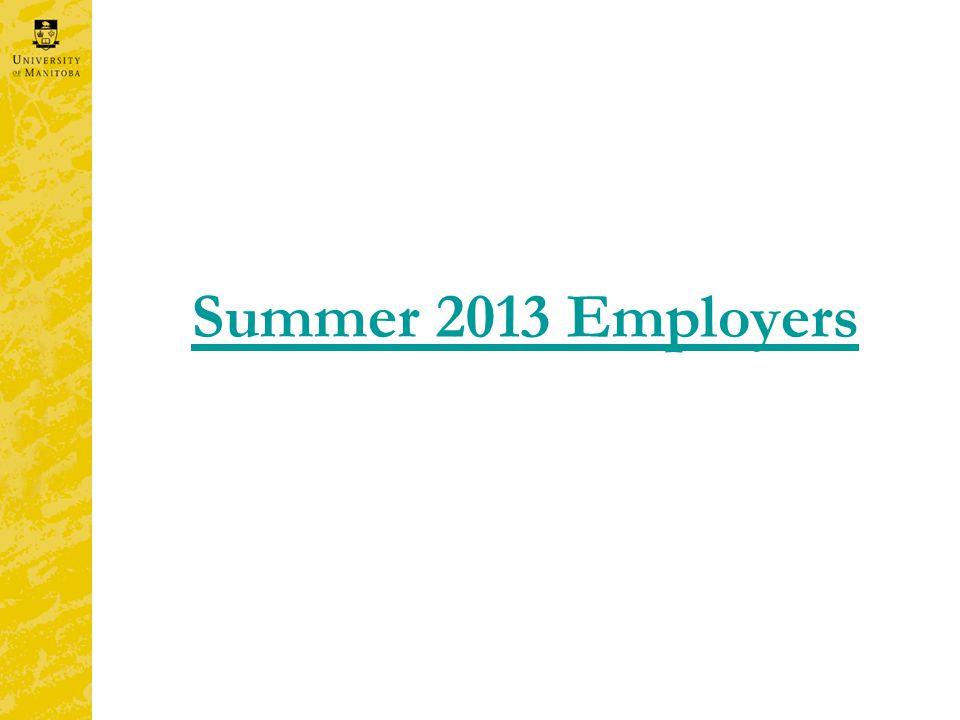 Summer 2013 Employers