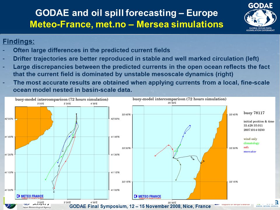 GODAE Final Symposium, 12 – 15 November 2008, Nice, France GODAE and oil spill forecasting – Europe Meteo-France, met.no – Mersea simulations Findings: -Often large differences in the predicted current fields -Drifter trajectories are better reproduced in stable and well marked circulation (left) -Large discrepancies between the predicted currents in the open ocean reflects the fact that the current field is dominated by unstable mesoscale dynamics (right) -The most accurate results are obtained when applying currents from a local, fine-scale ocean model nested in basin-scale data.