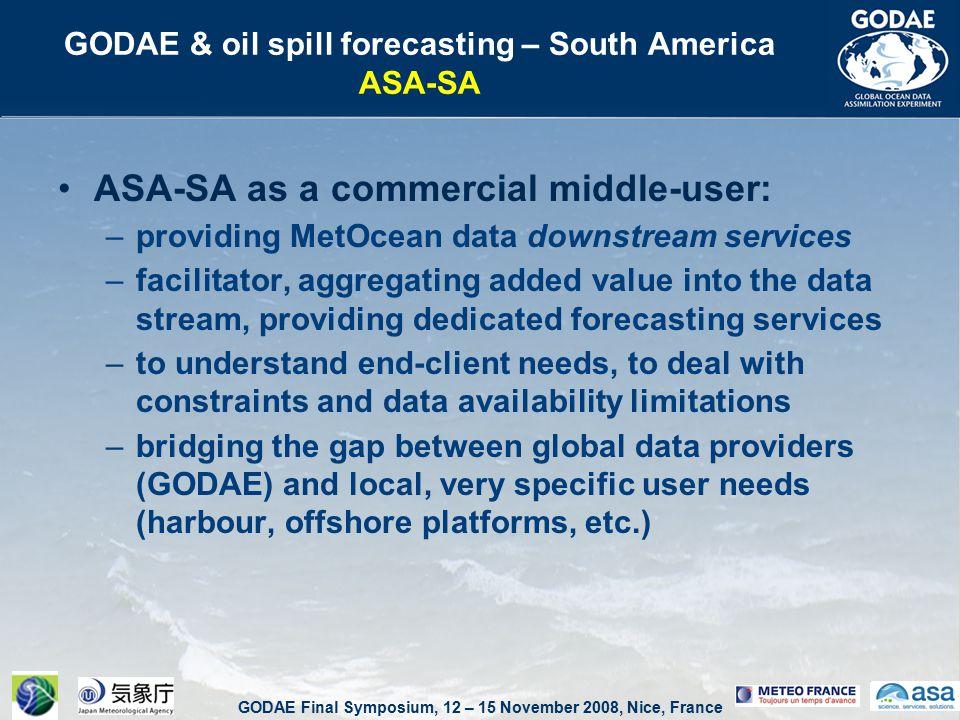 GODAE Final Symposium, 12 – 15 November 2008, Nice, France GODAE & oil spill forecasting – South America ASA-SA ASA-SA ocean and oil spill forecasting system for Petrobras, based on nesting in global ocean data products