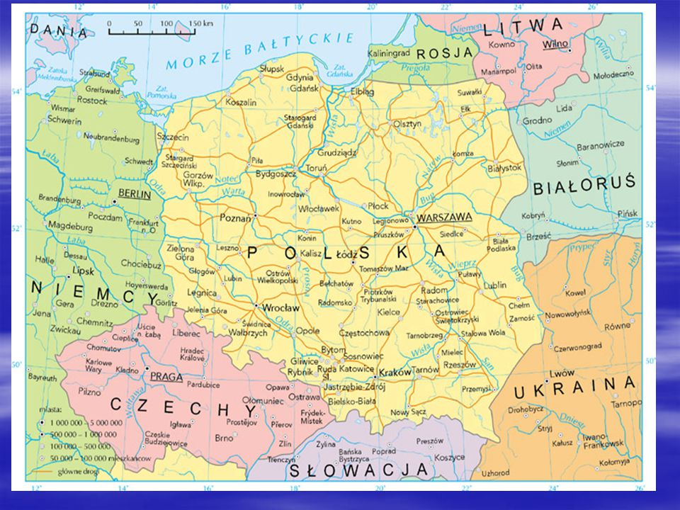 Borders  To the west, Poland has a border of 467 km with Germany, to the south with the Czech Republic (790 km) and Slovakia (541 km); to the east and north-east with Ukraine (529 km), Belarus (416 km), Lithuania (103 km) and Russia (210 km).