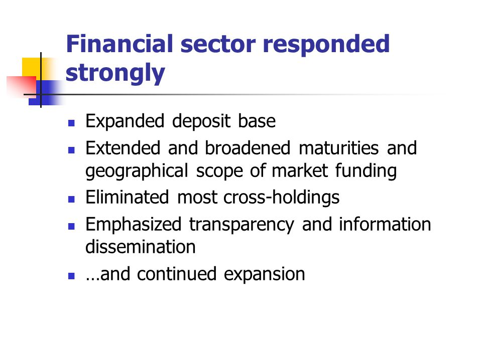 Financial sector responded strongly Expanded deposit base Extended and broadened maturities and geographical scope of market funding Eliminated most c