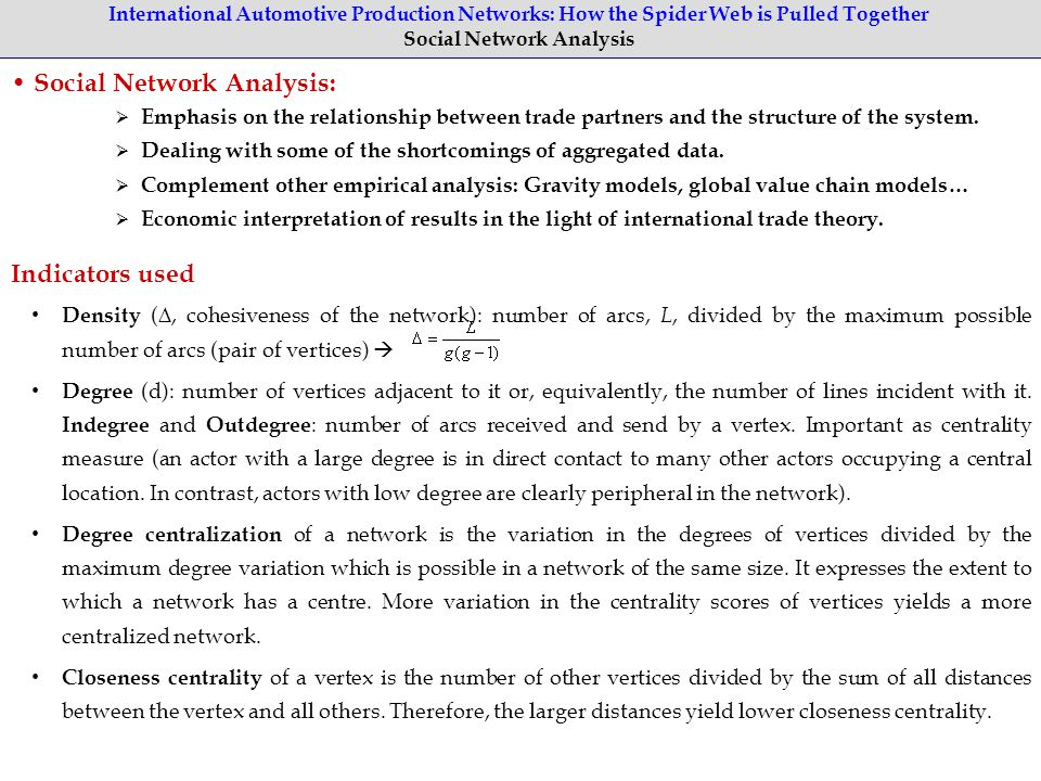 International Automotive Production Networks: How the Spider Web is Pulled Together Social Network Analysis Social Network Analysis:  Emphasis on the relationship between trade partners and the structure of the system.