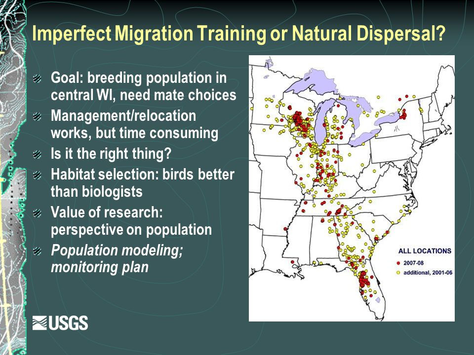 Imperfect Migration Training or Natural Dispersal? Goal: breeding population in central WI, need mate choices Management/relocation works, but time co