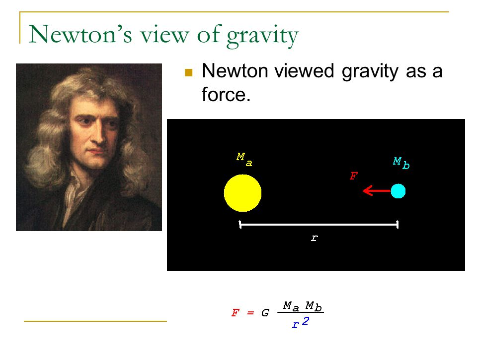 Newton's view of gravity Newton viewed gravity as a force.