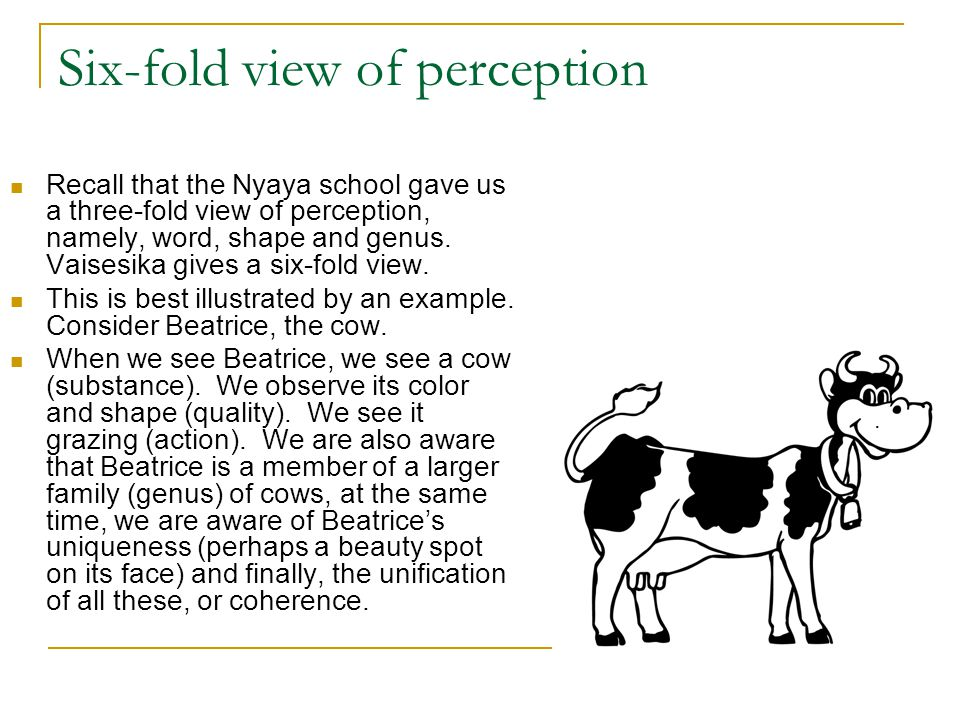 Six-fold view of perception Recall that the Nyaya school gave us a three-fold view of perception, namely, word, shape and genus. Vaisesika gives a six