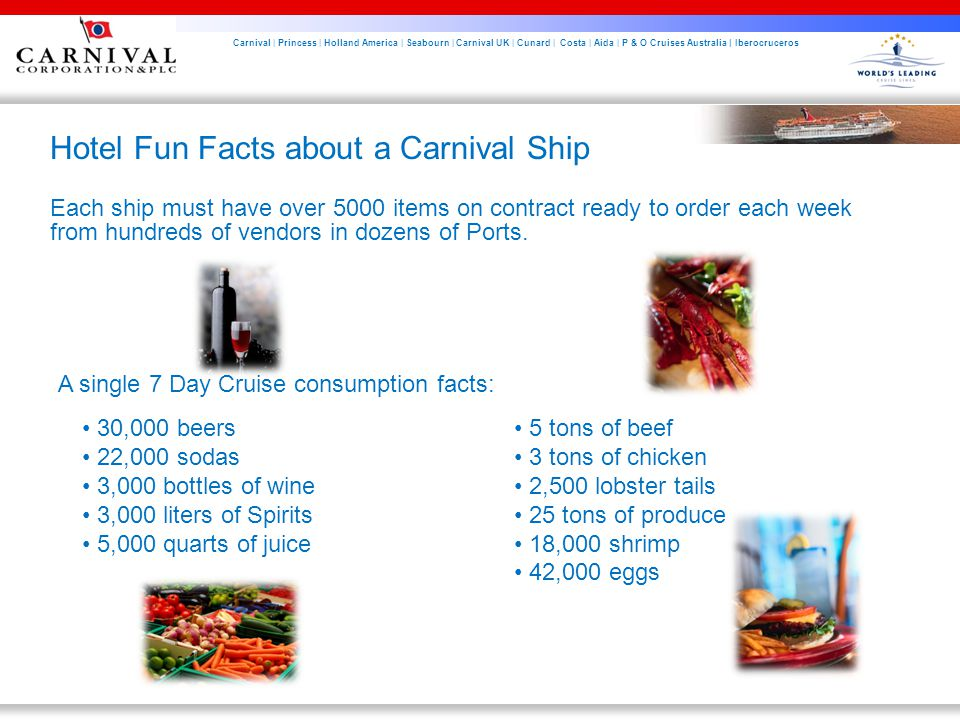 Carnival | Princess | Holland America | Seabourn | Carnival UK | Cunard | Costa | Aida | P & O Cruises Australia | Iberocruceros Hotel Fun Facts about a Carnival Ship Each ship must have over 5000 items on contract ready to order each week from hundreds of vendors in dozens of Ports.