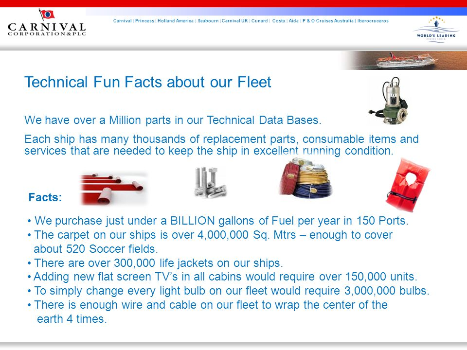 Carnival | Princess | Holland America | Seabourn | Carnival UK | Cunard | Costa | Aida | P & O Cruises Australia | Iberocruceros Technical Fun Facts about our Fleet We have over a Million parts in our Technical Data Bases.