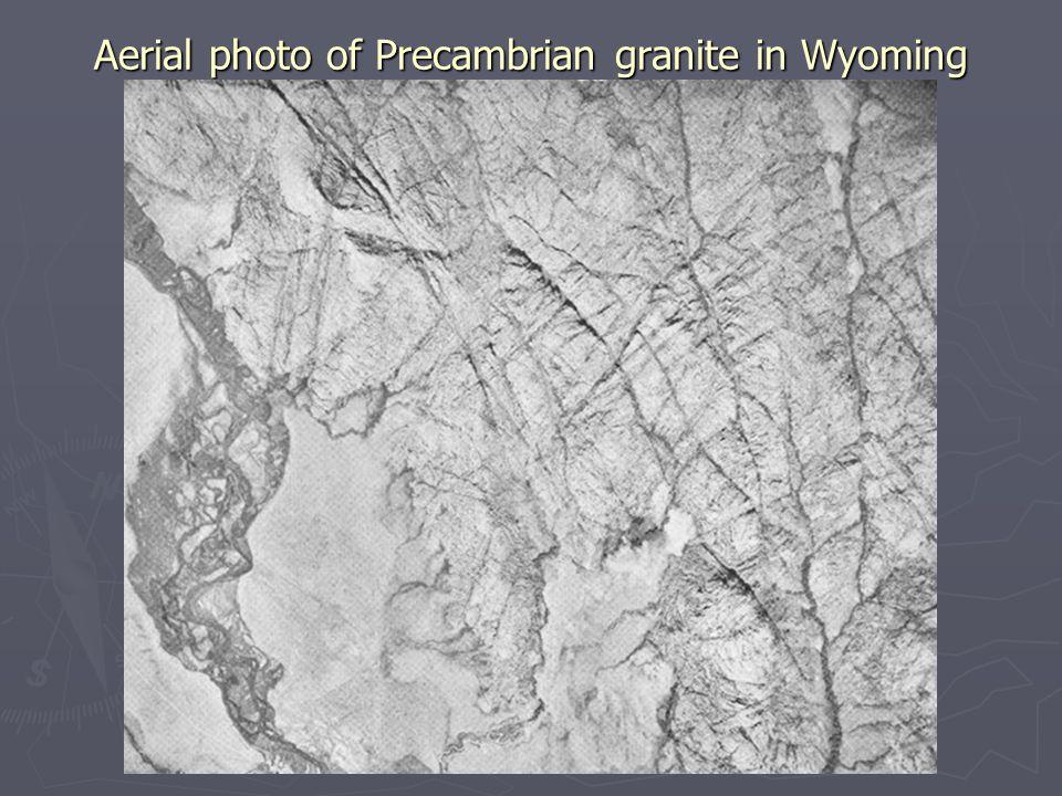 Aerial photo of Precambrian granite in Wyoming