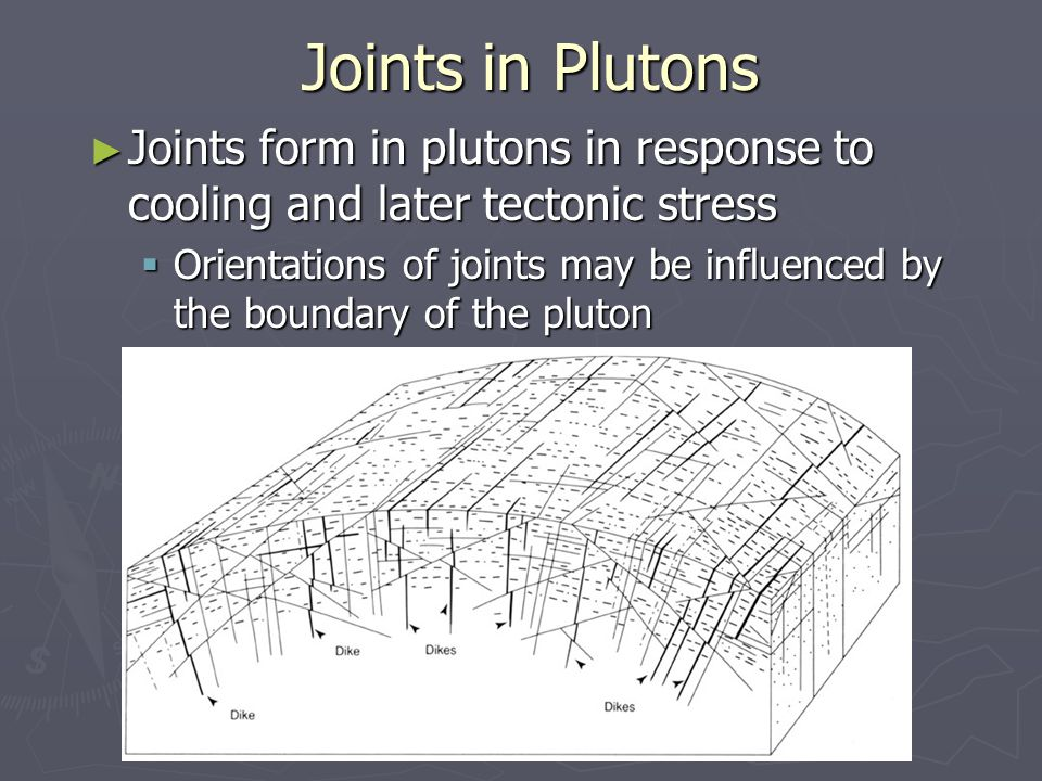 Joints in Plutons ► Joints form in plutons in response to cooling and later tectonic stress  Orientations of joints may be influenced by the boundary of the pluton
