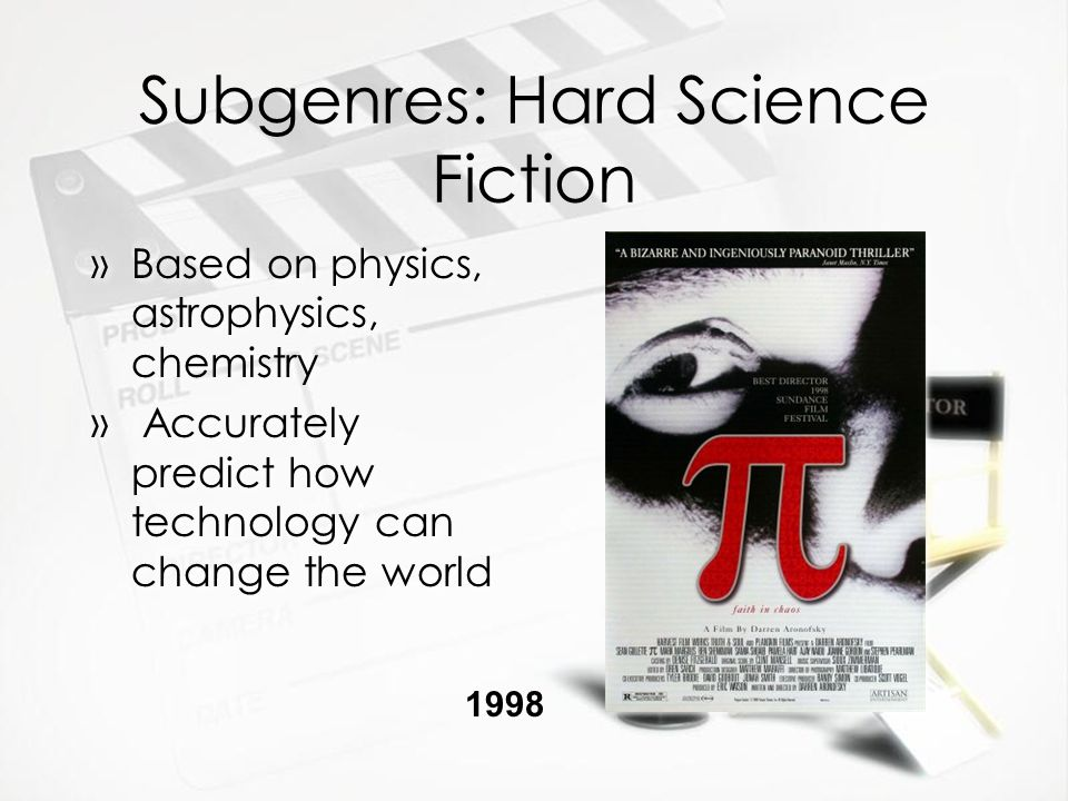 Subgenres: Hard Science Fiction »Based on physics, astrophysics, chemistry » Accurately predict how technology can change the world »Based on physics, astrophysics, chemistry » Accurately predict how technology can change the world 1998