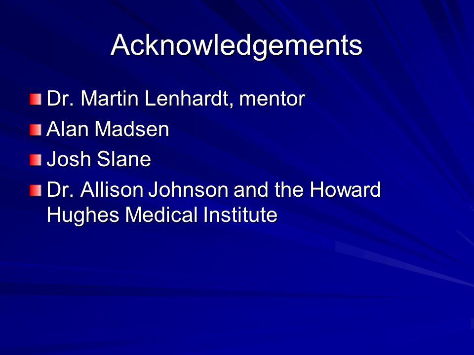 Acknowledgements Dr.Martin Lenhardt, mentor Alan Madsen Josh Slane Dr.