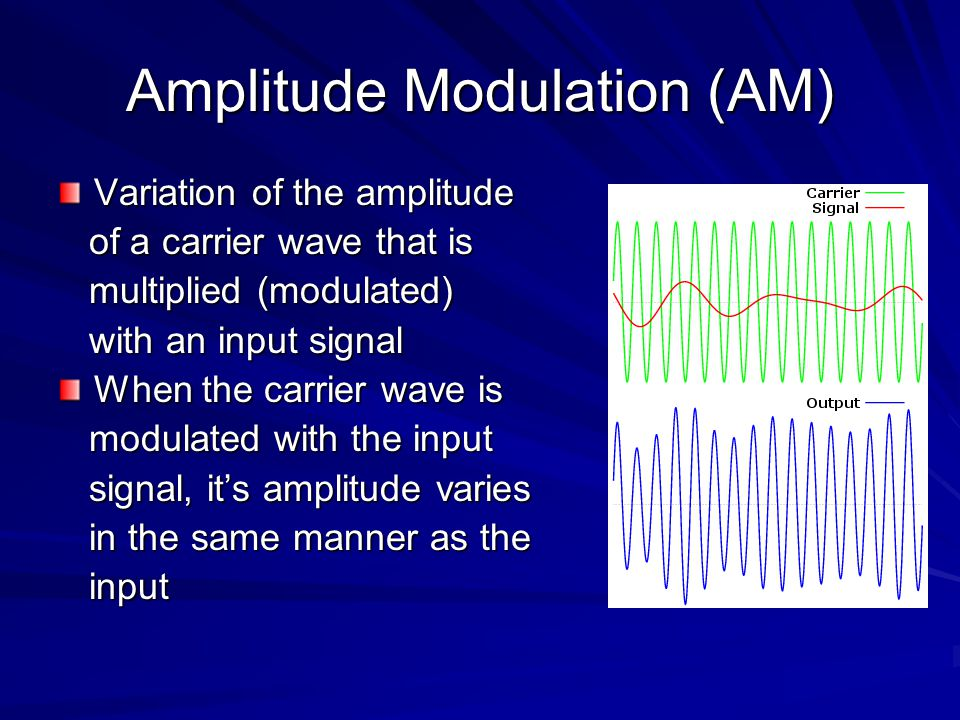 Amplitude Modulation (AM) Variation of the amplitude of a carrier wave that is of a carrier wave that is multiplied (modulated) multiplied (modulated) with an input signal with an input signal When the carrier wave is modulated with the input modulated with the input signal, it's amplitude varies signal, it's amplitude varies in the same manner as the in the same manner as the input input