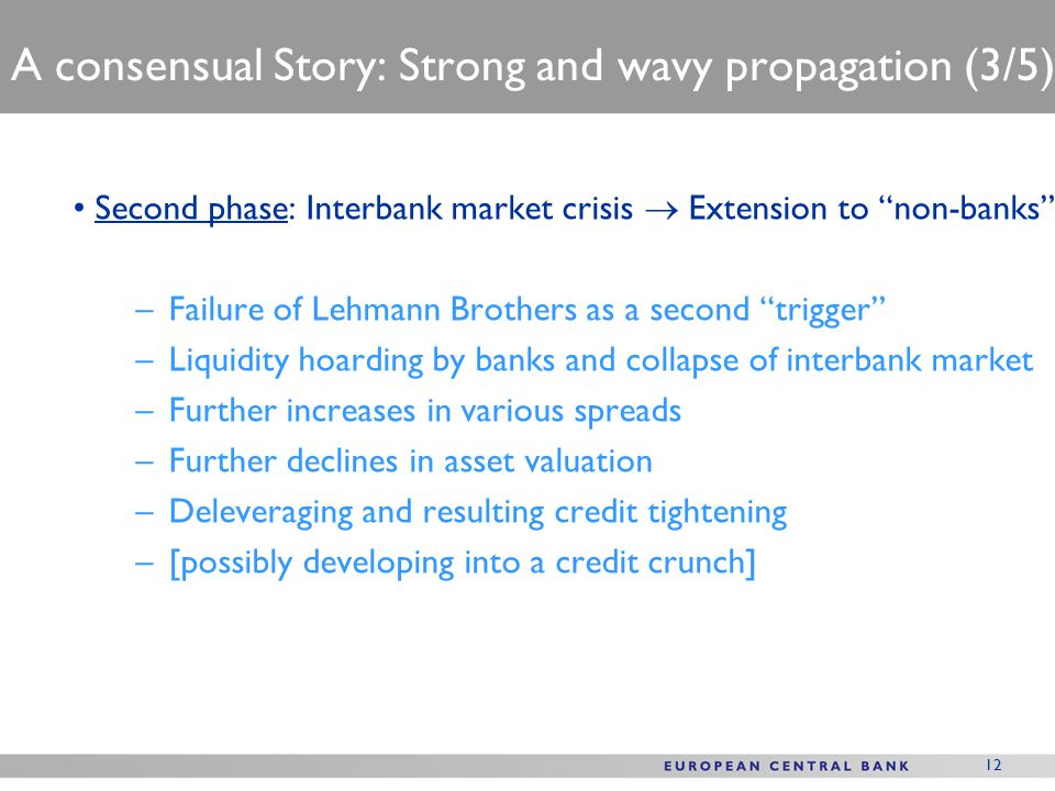 12 A consensual Story: Strong and wavy propagation (3/5) Second phase: Interbank market crisis  Extension to non-banks –Failure of Lehmann Brothers as a second trigger –Liquidity hoarding by banks and collapse of interbank market –Further increases in various spreads –Further declines in asset valuation –Deleveraging and resulting credit tightening –[possibly developing into a credit crunch]