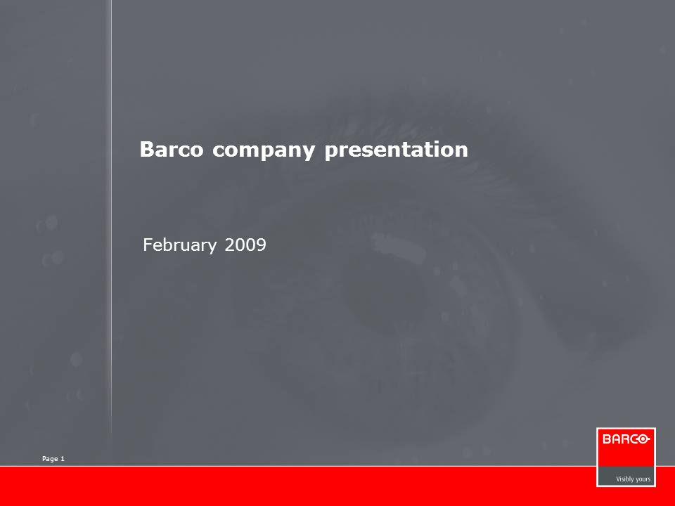 Page 1 Barco company presentation February 2009 Page 1