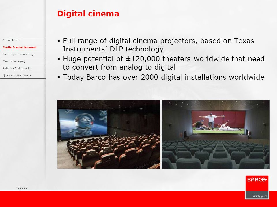 Page 20 Digital cinema  Full range of digital cinema projectors, based on Texas Instruments' DLP technology  Huge potential of ±120,000 theaters wor