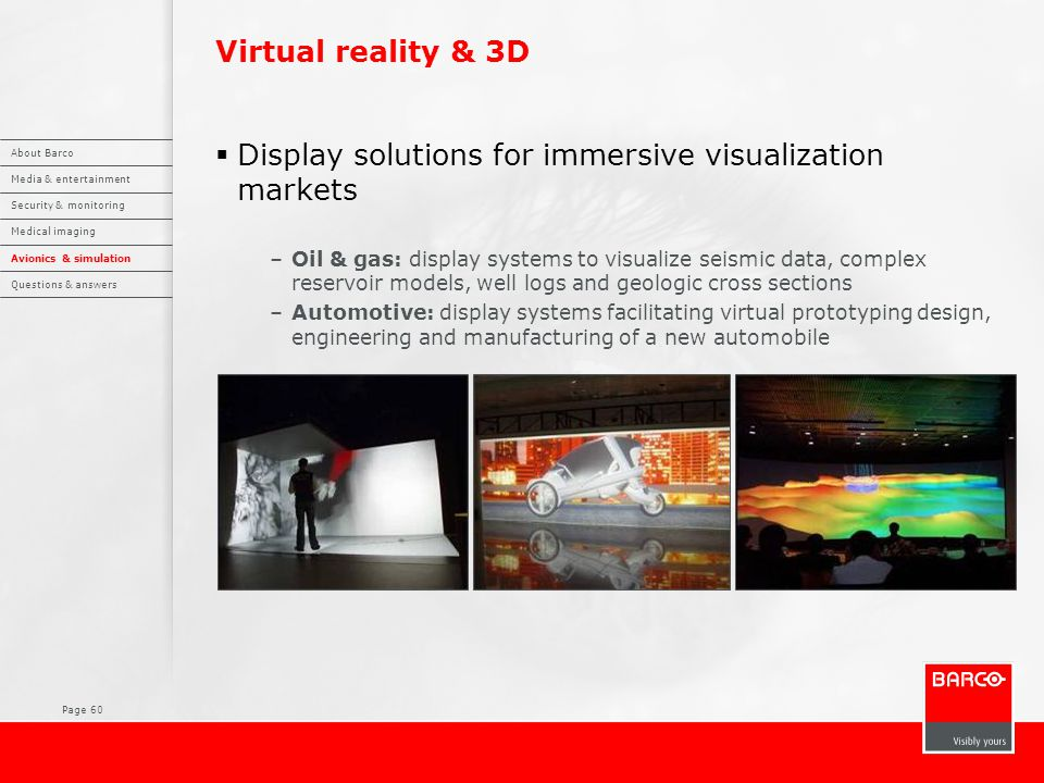 Page 60 Virtual reality & 3D  Display solutions for immersive visualization markets –Oil & gas: display systems to visualize seismic data, complex re