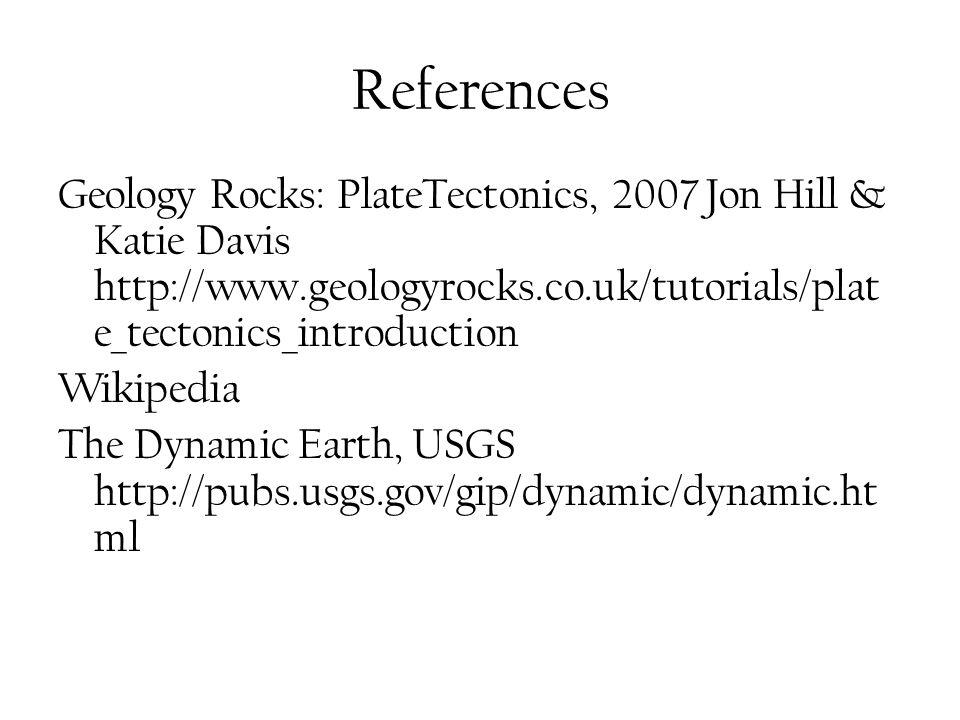 References Geology Rocks: PlateTectonics, 2007 Jon Hill & Katie Davis http://www.geologyrocks.co.uk/tutorials/plat e_tectonics_introduction Wikipedia