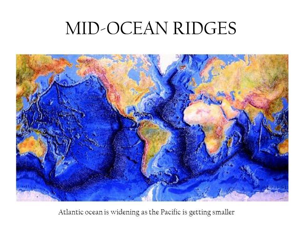 MID-OCEAN RIDGES Atlantic ocean is widening as the Pacific is getting smaller