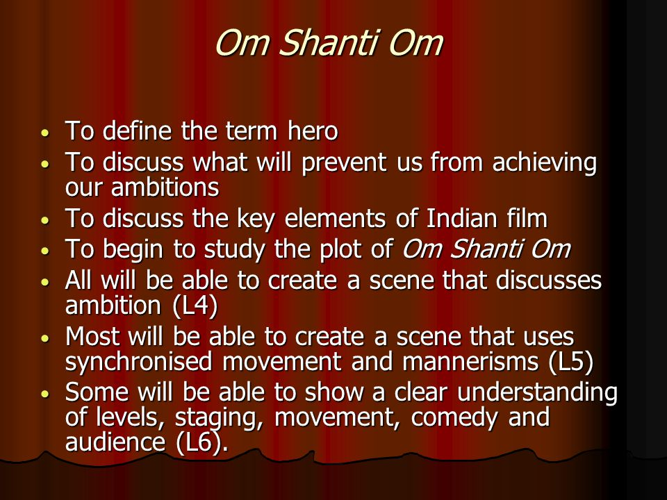 Journey of the lesson Introduction Introduction Discuss the term hero Discuss the term hero Still image work Still image work Discuss the importance of a name Discuss the importance of a name Introduction to Bollywood film Introduction to Bollywood film View a scene View a scene Rehearsal slide 1 Rehearsal slide 1 Rehearsal slide 2 Rehearsal slide 2 Plenary Plenary