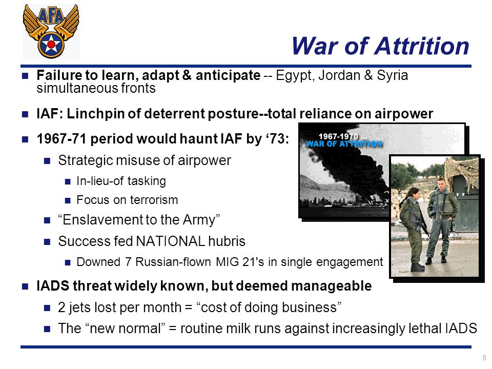 8 War of Attrition Failure to learn, adapt & anticipate -- Egypt, Jordan & Syria simultaneous fronts IAF: Linchpin of deterrent posture--total reliance on airpower 1967-71 period would haunt IAF by '73: Strategic misuse of airpower In-lieu-of tasking Focus on terrorism Enslavement to the Army Success fed NATIONAL hubris Downed 7 Russian-flown MIG 21 s in single engagement IADS threat widely known, but deemed manageable 2 jets lost per month = cost of doing business The new normal = routine milk runs against increasingly lethal IADS