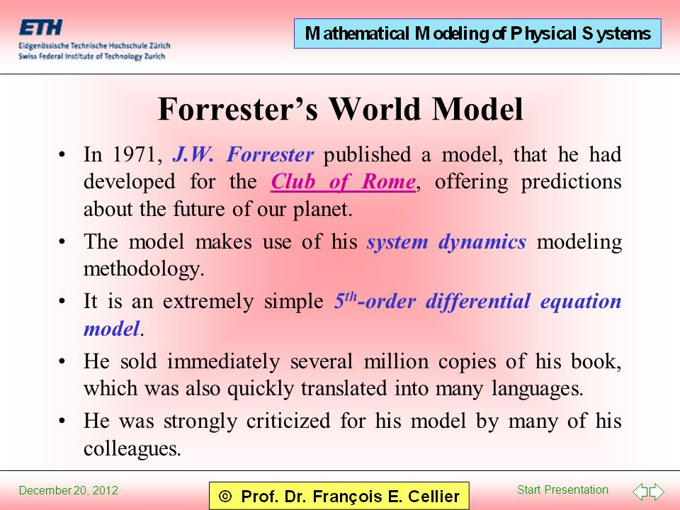 Start Presentation December 20, 2012 Forrester's World Model In 1971, J.W.