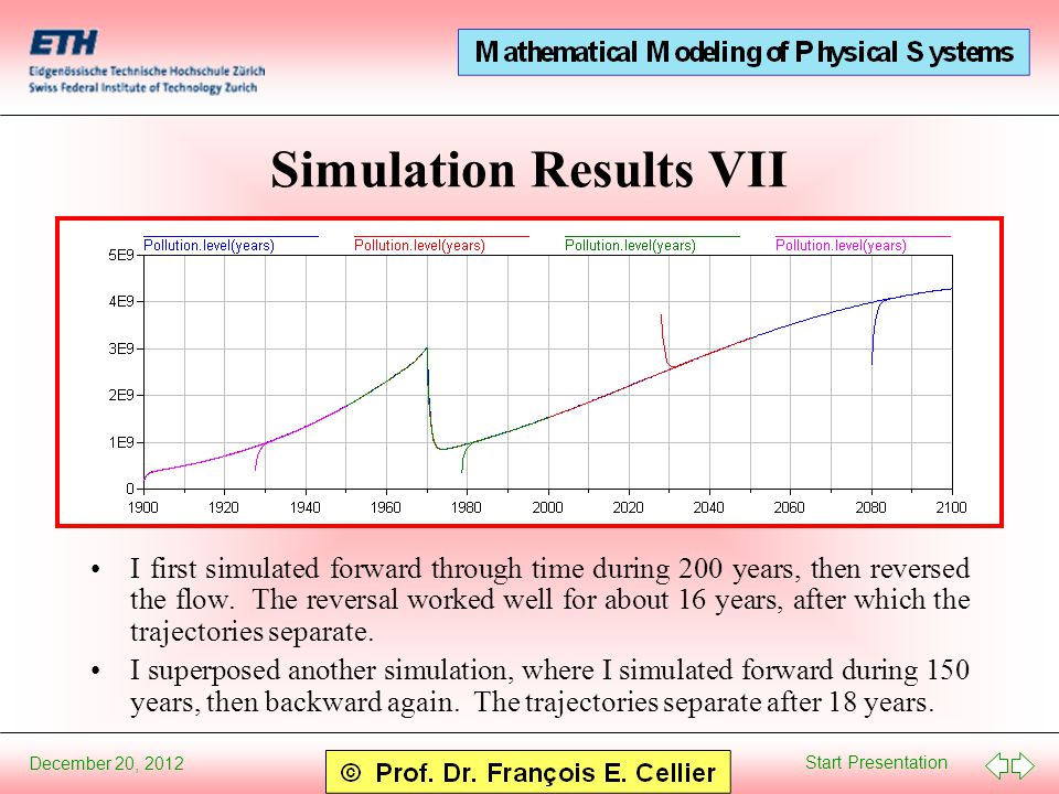 Start Presentation December 20, 2012 Simulation Results VII I first simulated forward through time during 200 years, then reversed the flow.