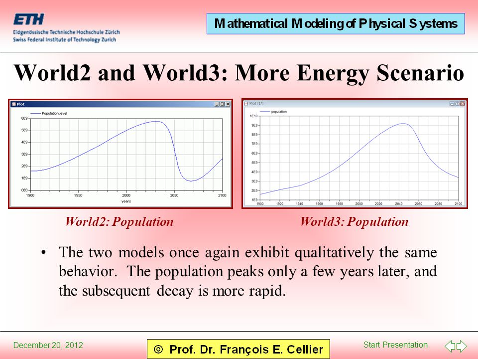 Start Presentation December 20, 2012 World2 and World3: More Energy Scenario The two models once again exhibit qualitatively the same behavior.