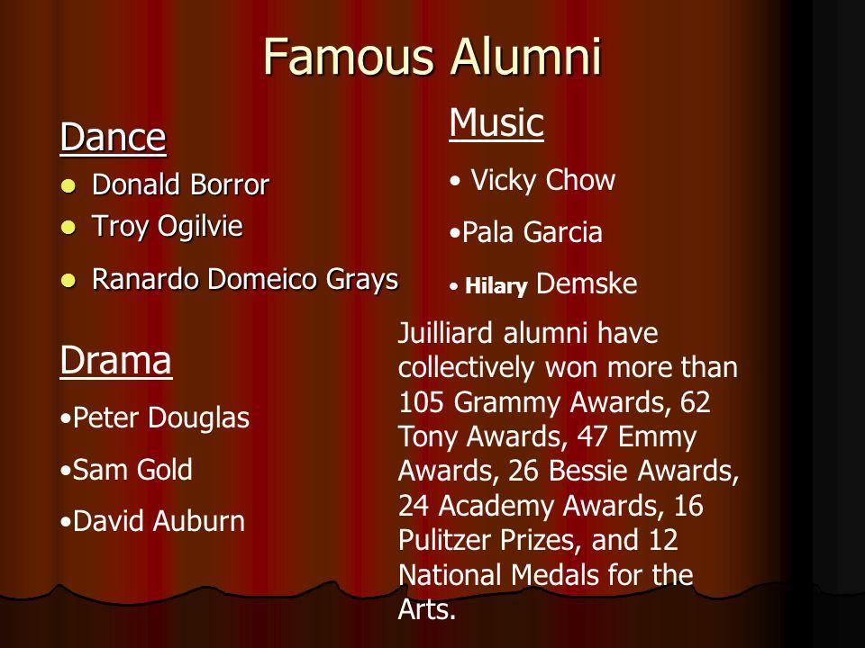Famous Alumni Dance Donald Borror Troy Ogilvie Ranardo Domeico Grays Music Vicky Chow Pala Garcia Hilary Demske Drama Peter Douglas Sam Gold David Aub