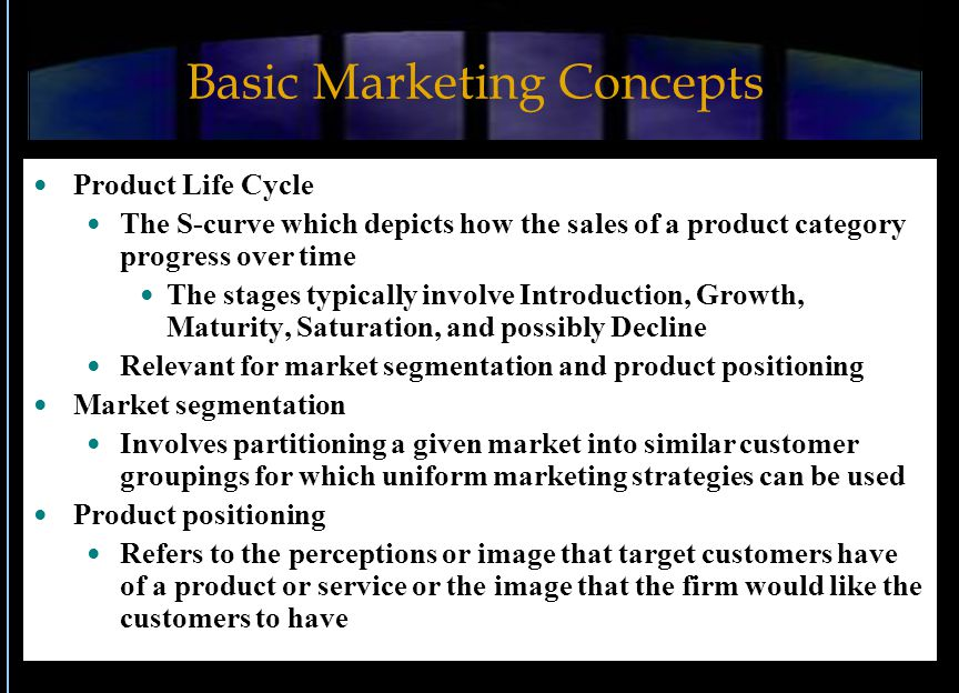 Basic Marketing Concepts Product Life Cycle The S-curve which depicts how the sales of a product category progress over time The stages typically invo