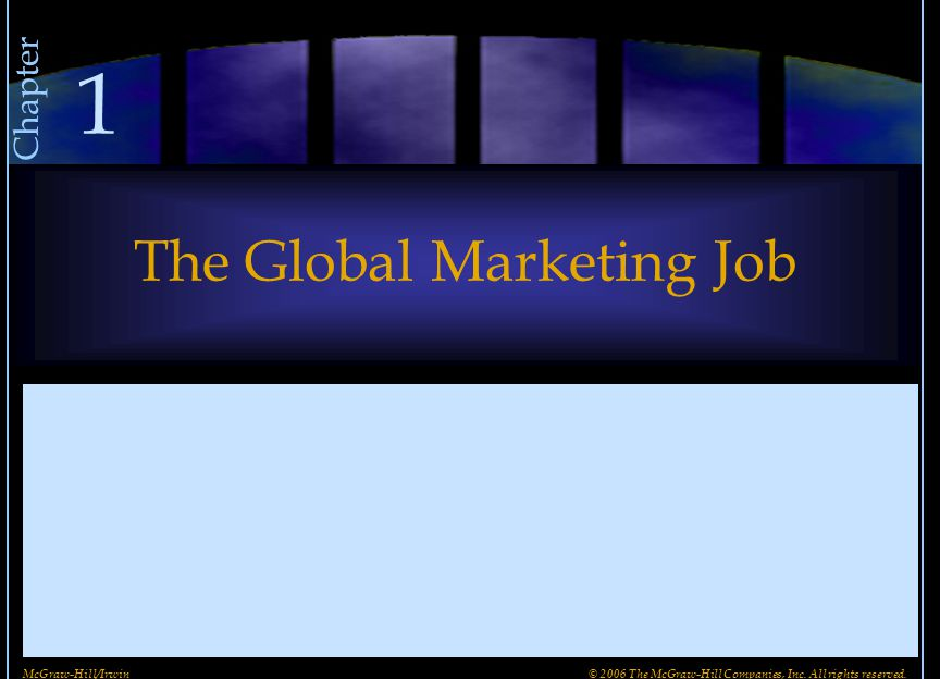 The Global Marketing Job Chapter 1 McGraw-Hill/Irwin© 2006 The McGraw-Hill Companies, Inc. All rights reserved.