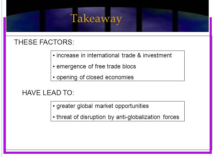 increase in international trade & investment emergence of free trade blocs opening of closed economies THESE FACTORS: HAVE LEAD TO: greater global mar