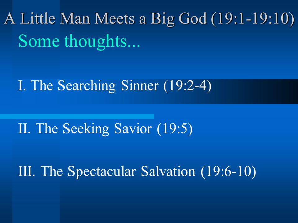 A Little Man Meets a Big God (19:1-19:10) Application...