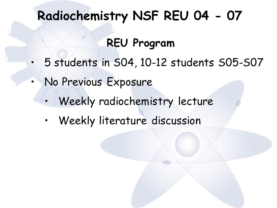 Radiochemistry NSF REU 04 - 07 REU Program 5 students in S04, 10-12 students S05-S07 No Previous Exposure Weekly radiochemistry lecture Weekly literature discussion