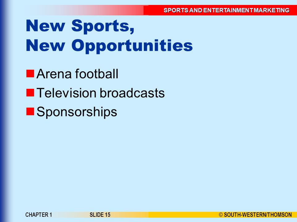 © SOUTH-WESTERN/THOMSON SPORTS AND ENTERTAINMENT MARKETING CHAPTER 1SLIDE 15 New Sports, New Opportunities Arena football Television broadcasts Sponsorships