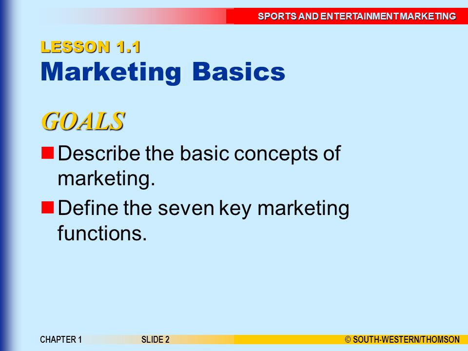 © SOUTH-WESTERN/THOMSON SPORTS AND ENTERTAINMENT MARKETING CHAPTER 1SLIDE 2 LESSON 1.1 LESSON 1.1 Marketing Basics GOALS Describe the basic concepts of marketing.