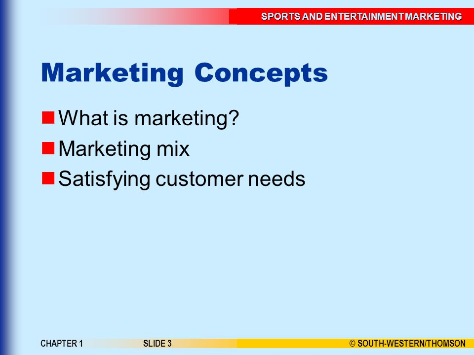 © SOUTH-WESTERN/THOMSON SPORTS AND ENTERTAINMENT MARKETING CHAPTER 1SLIDE 3 Marketing Concepts What is marketing.