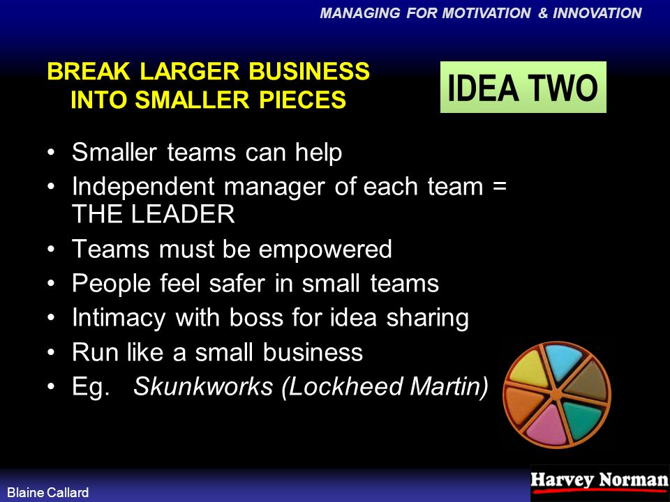 MANAGING FOR MOTIVATION & INNOVATION Blaine Callard BREAK LARGER BUSINESS INTO SMALLER PIECES Smaller teams can help Independent manager of each team = THE LEADER Teams must be empowered People feel safer in small teams Intimacy with boss for idea sharing Run like a small business Eg.
