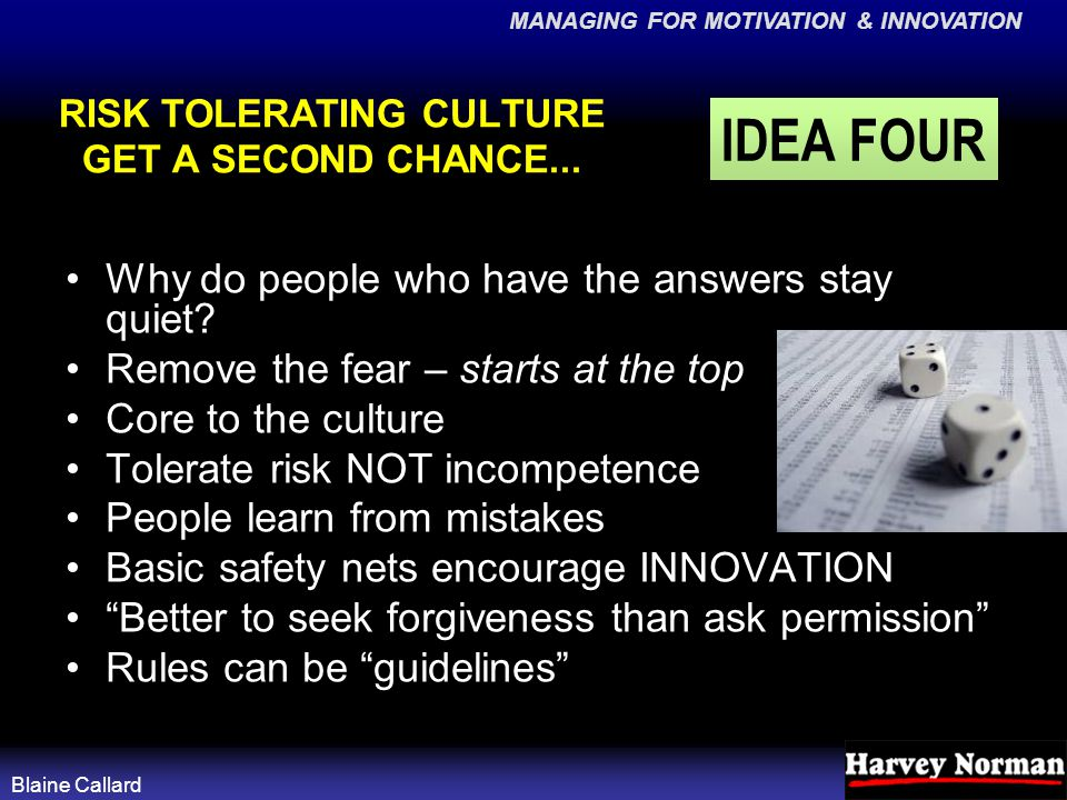 MANAGING FOR MOTIVATION & INNOVATION Blaine Callard RISK TOLERATING CULTURE GET A SECOND CHANCE...