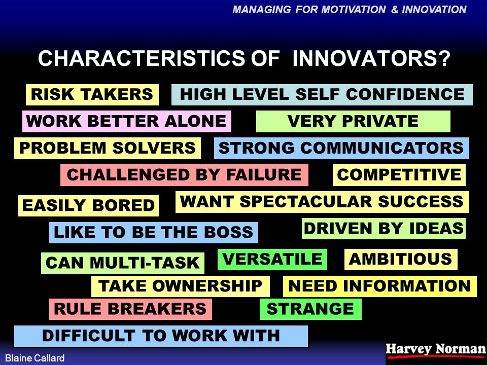 MANAGING FOR MOTIVATION & INNOVATION Blaine Callard CHARACTERISTICS OF INNOVATORS? STRONG COMMUNICATORS VERY PRIVATE RISK TAKERS COMPETITIVE AMBITIOUS